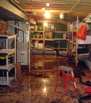 a flooded home in Lewisville