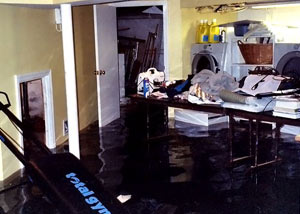 A laundry room flood in RIchardson, with several feet of water flooded in.