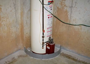 A water heater in North Richland Hills that's been protected by the FloodRing® and a perimeter drain system.