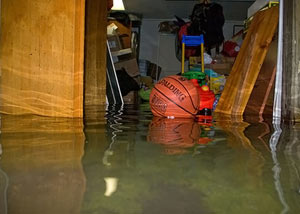 A flooded basement bedroom in Hurst