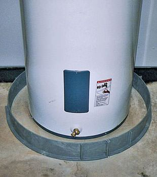 An old water heater in Rowlett, TX with flood protection installed