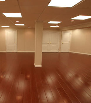 Rosewood faux wood basement flooring for finished basements in Dallas