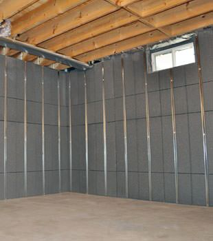 Installed basement wall panels installed in Carrollton