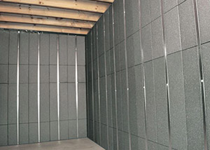 SilverGlo™ insulation and metal studs making up our Basement to Beautiful panels